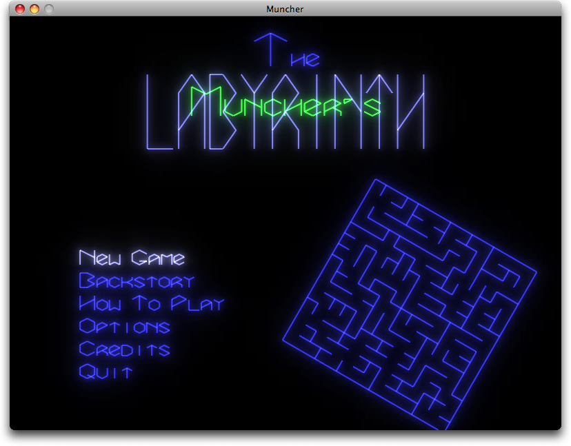 Muncher's Labyrinth main menu screenshot